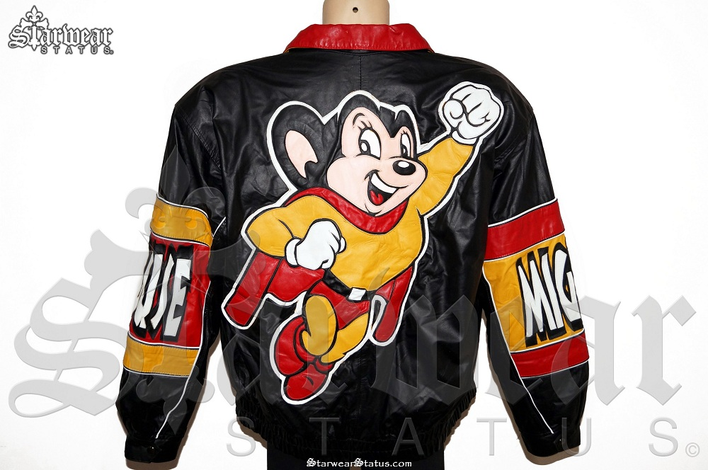 Anime characters jacket : Vintage mighty mouse full leather super hero cartoon anime